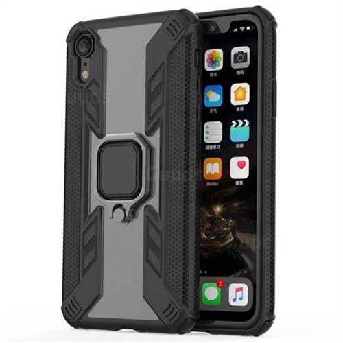 Predator Armor Metal Ring Grip Shockproof Dual Layer Rugged Hard Cover for iPhone Xr (6.1 inch) - Black