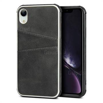 Simple Calf Card Slots Mobile Phone Back Cover for iPhone Xr (6.1 inch) - Black
