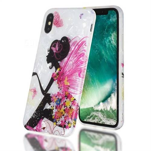 Flower Butterfly Girl Shell Pattern Clear Bumper Glossy Rubber Silicone Phone Case for iPhone Xr (6.1 inch)