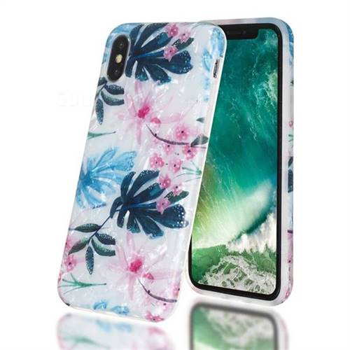 Flowers and Leaves Shell Pattern Clear Bumper Glossy Rubber Silicone Phone Case for iPhone Xr (6.1 inch)