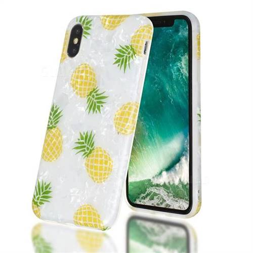 Yellow Pineapple Shell Pattern Clear Bumper Glossy Rubber Silicone Phone Case for iPhone Xr (6.1 inch)