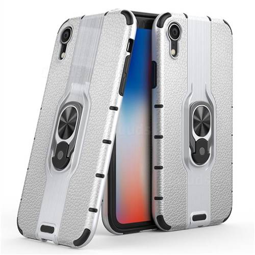 Alita Battle Angel Armor Metal Ring Grip Shockproof Dual Layer Rugged Hard Cover for iPhone Xr (6.1 inch) - Silver
