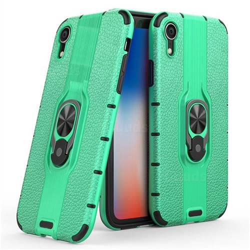Alita Battle Angel Armor Metal Ring Grip Shockproof Dual Layer Rugged Hard Cover for iPhone Xr (6.1 inch) - Green