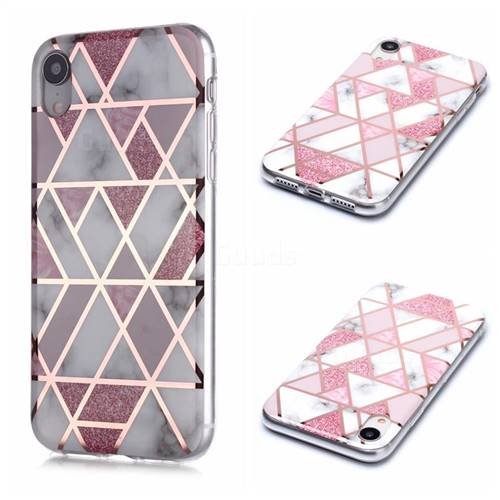 Pink Rhombus Galvanized Rose Gold Marble Phone Back Cover for iPhone Xr (6.1 inch)