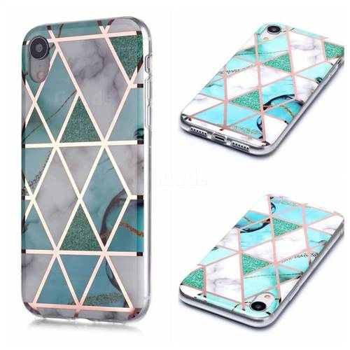 Green White Galvanized Rose Gold Marble Phone Back Cover for iPhone Xr (6.1 inch)