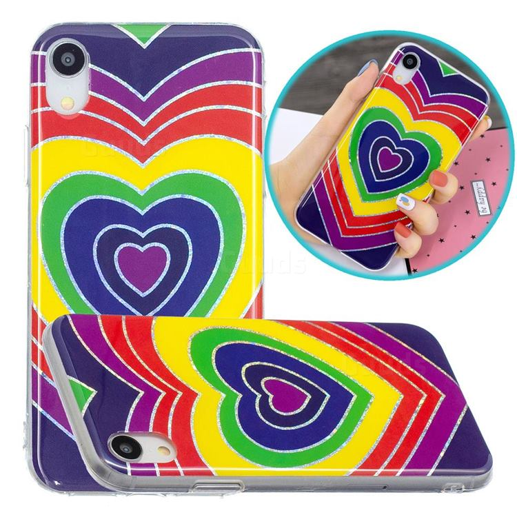 Rainbow Heart Painted Galvanized Electroplating Soft Phone Case Cover for iPhone Xr (6.1 inch)