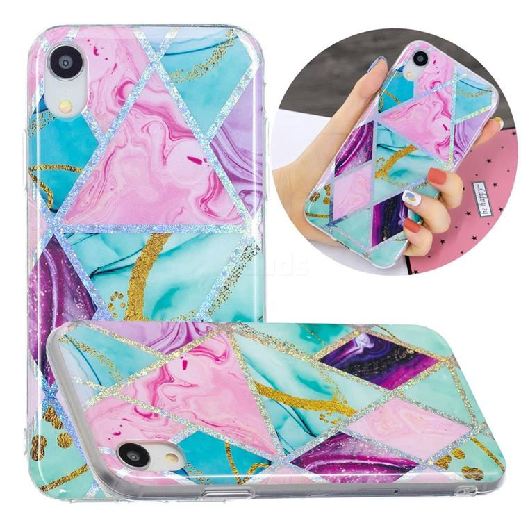 Triangular Marble Painted Galvanized Electroplating Soft Phone Case Cover for iPhone Xr (6.1 inch)