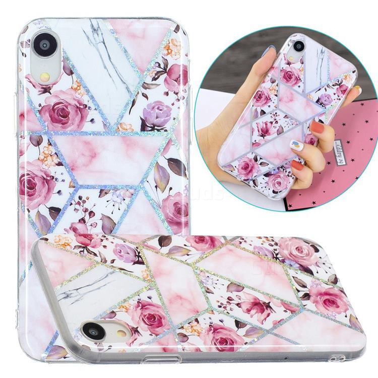 Rose Flower Painted Galvanized Electroplating Soft Phone Case Cover for iPhone Xr (6.1 inch)