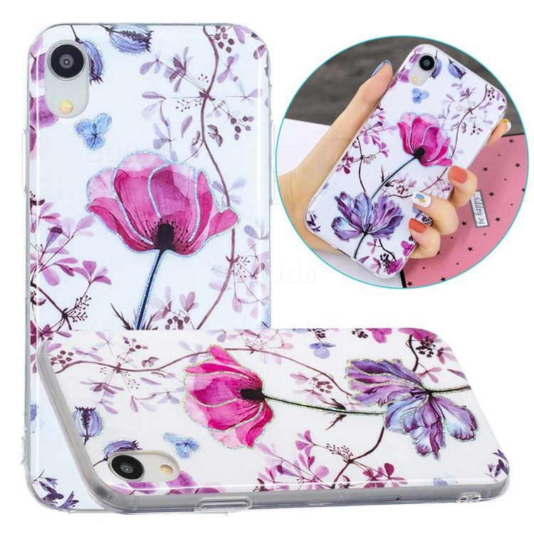 Magnolia Painted Galvanized Electroplating Soft Phone Case Cover for iPhone Xr (6.1 inch)