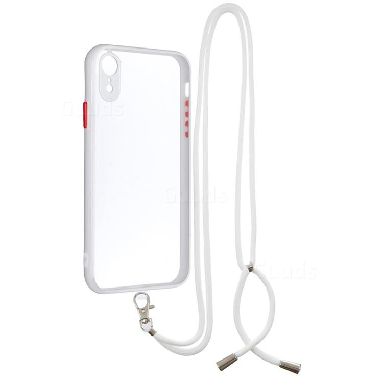 Necklace Cross-body Lanyard Strap Cord Phone Case Cover for iPhone Xr (6.1 inch) - White