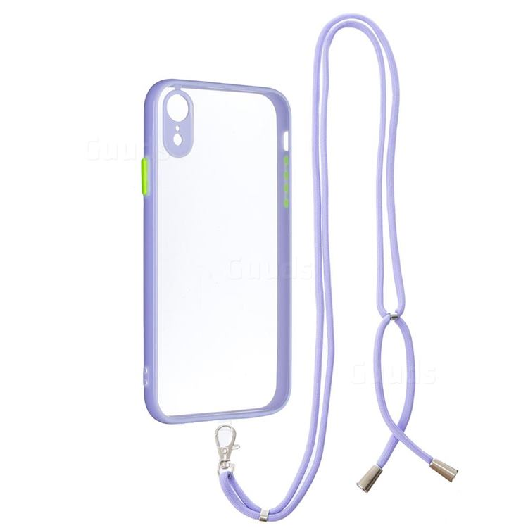 Necklace Cross-body Lanyard Strap Cord Phone Case Cover for iPhone Xr (6.1 inch) - Purple
