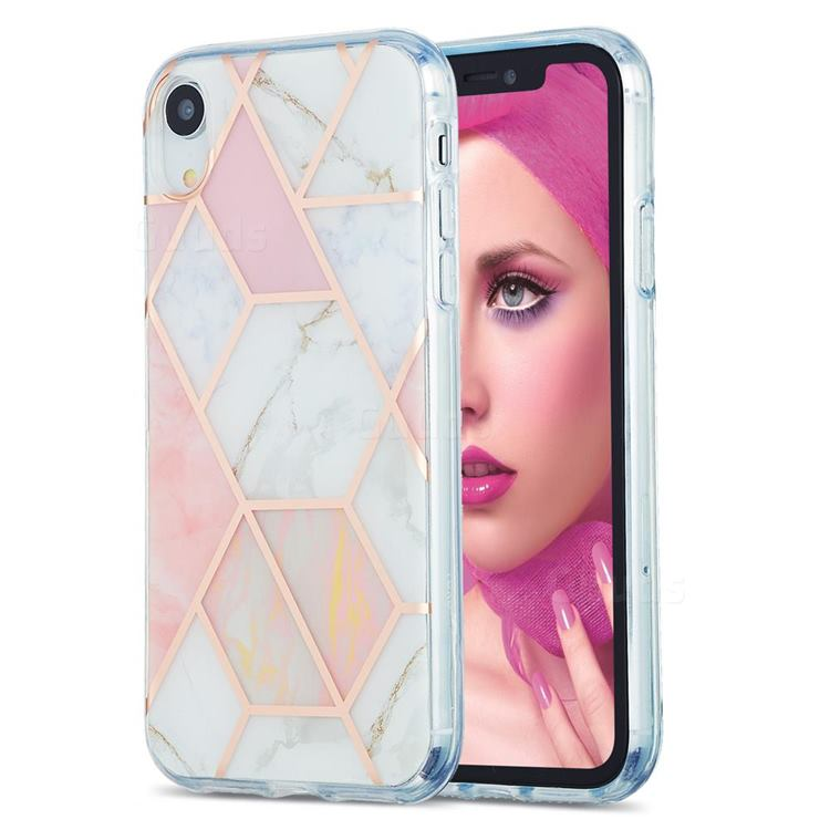 Pink White Marble Pattern Galvanized Electroplating Protective Case Cover for iPhone Xr (6.1 inch)