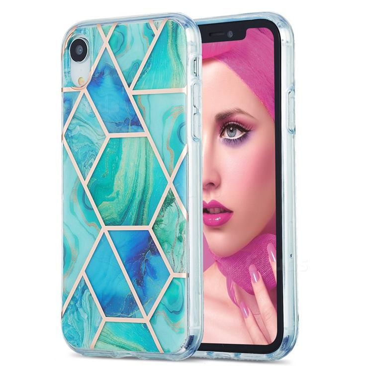 Green Glacier Marble Pattern Galvanized Electroplating Protective Case Cover for iPhone Xr (6.1 inch)