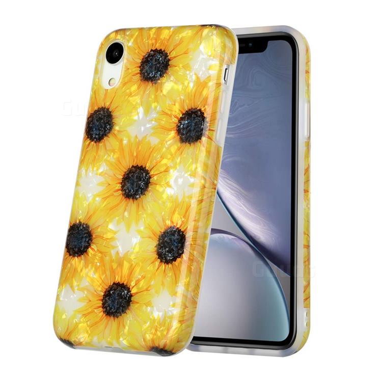 Yellow Sunflowers Shell Pattern Glossy Rubber Silicone Protective Case Cover for iPhone Xr (6.1 inch)