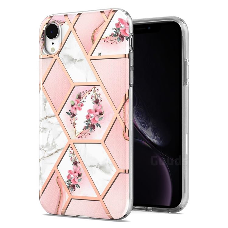 Pink Flower Marble Electroplating Protective Case Cover for iPhone Xr (6.1 inch)
