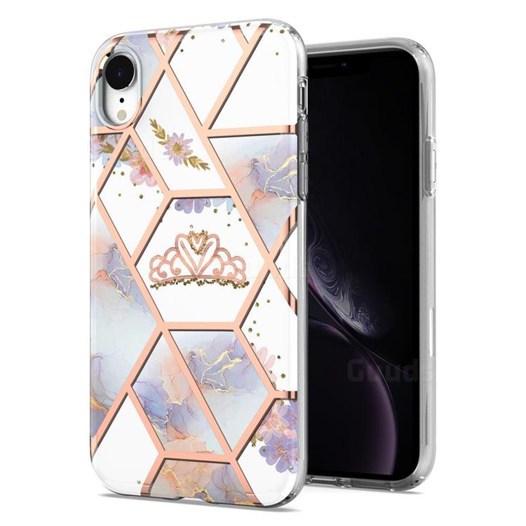 Crown Purple Flower Marble Electroplating Protective Case Cover for iPhone Xr (6.1 inch)
