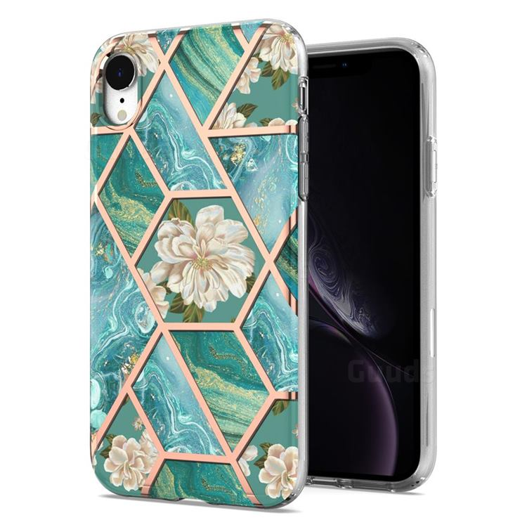 Blue Chrysanthemum Marble Electroplating Protective Case Cover for iPhone Xr (6.1 inch)