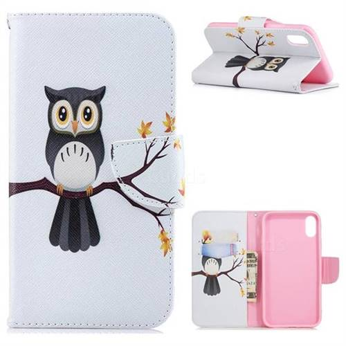 Owl on Tree Leather Wallet Case for iPhone Xr (6.1 inch)