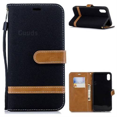 Jeans Cowboy Denim Leather Wallet Case for iPhone Xr (6.1 inch) - Black