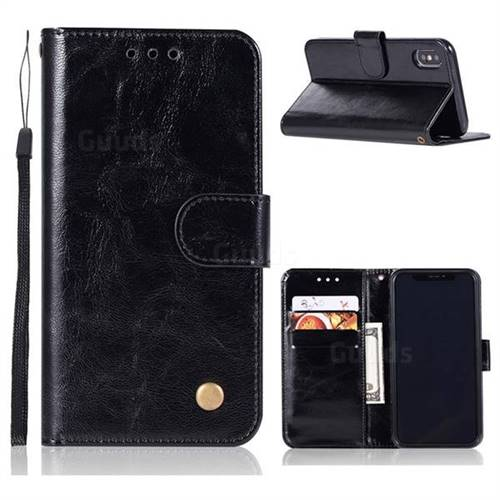 Luxury Retro Leather Wallet Case for iPhone Xr (6.1 inch) - Black