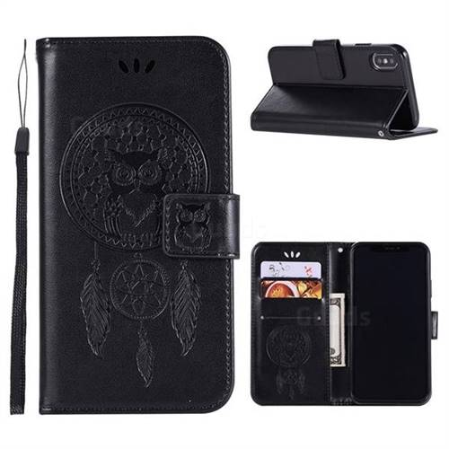 Intricate Embossing Owl Campanula Leather Wallet Case for iPhone Xr (6.1 inch) - Black