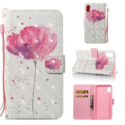 Watercolor 3D Painted Leather Wallet Case for iPhone Xr (6.1 inch)