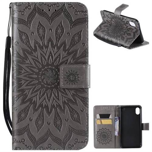 Embossing Sunflower Leather Wallet Case for iPhone Xr (6.1 inch) - Gray