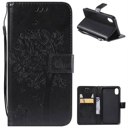 Embossing Butterfly Tree Leather Wallet Case for iPhone Xr (6.1 inch) - Black