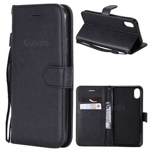 Retro Greek Classic Smooth PU Leather Wallet Phone Case for iPhone Xr (6.1 inch) - Black
