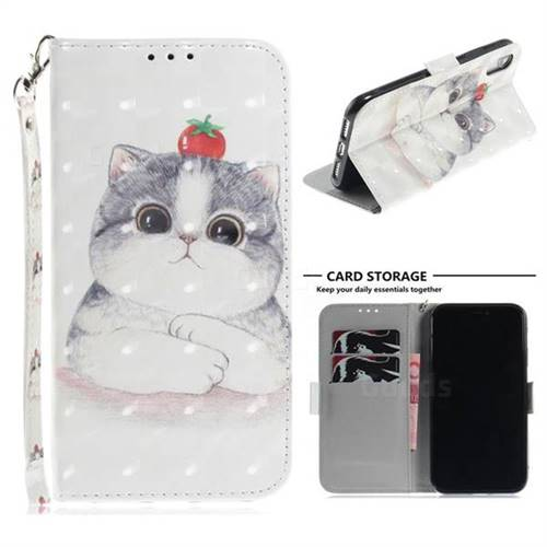 Cute Tomato Cat 3D Painted Leather Wallet Phone Case for iPhone Xr (6.1 inch)