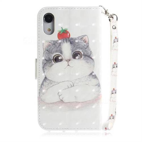 sports shoes ef8fb 1eeb2 Cute Tomato Cat 3D Painted Leather Wallet Phone Case for iPhone Xr (6.1  inch)