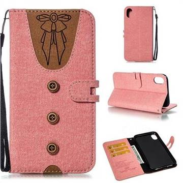 Ladies Bow Clothes Pattern Leather Wallet Phone Case for iPhone Xr (6.1 inch) - Pink