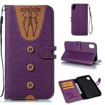 Ladies Bow Clothes Pattern Leather Wallet Phone Case for iPhone Xr (6.1 inch) - Purple