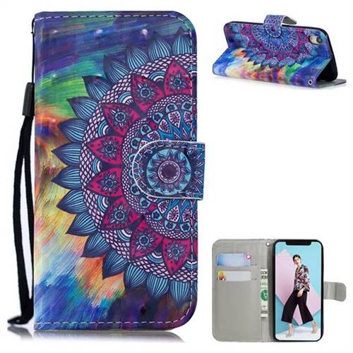 Oil Painting Mandala 3D Painted Leather Wallet Phone Case for iPhone Xr (6.1 inch)