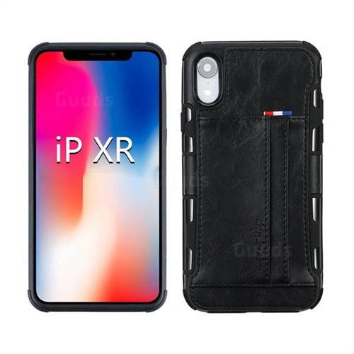 Luxury Shatter-resistant Leather Coated Card Phone Case for iPhone Xr (6.1 inch) - Black