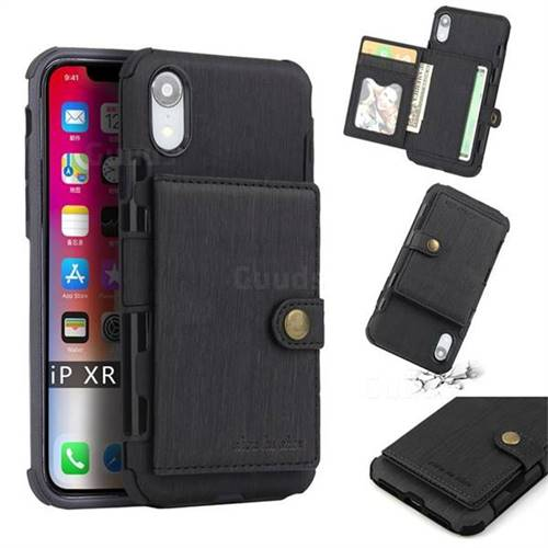 Brush Multi-function Leather Phone Case for iPhone Xr (6.1 inch) - Black