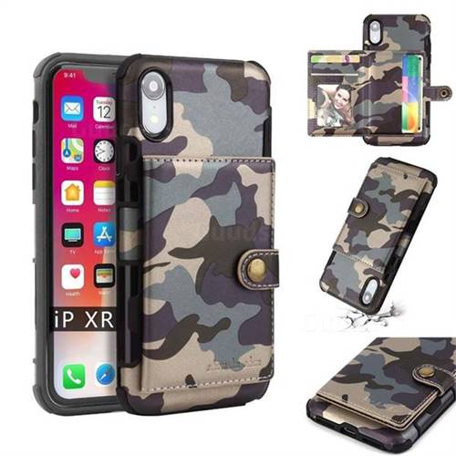 Camouflage Multi-function Leather Phone Case for iPhone Xr (6.1 inch) - Gray
