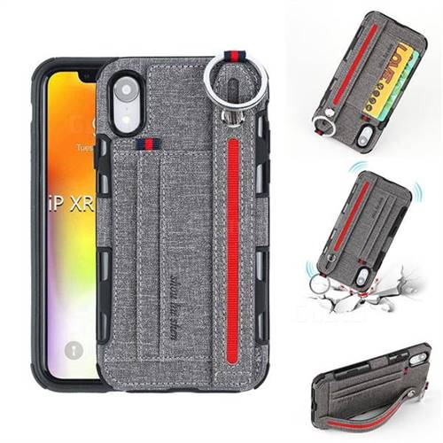 British Style Canvas Pattern Multi-function Leather Phone Case for iPhone Xr (6.1 inch) - Gray