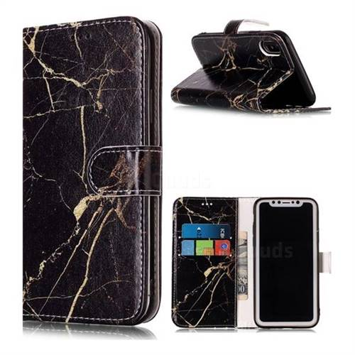 Black Gold Marble PU Leather Wallet Case for iPhone Xr (6.1 inch)