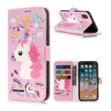 purchase cheap 46ece 78d49 Love Rainbow Unicorn PU Leather Wallet Phone Case for iPhone Xr (6.1 inch)