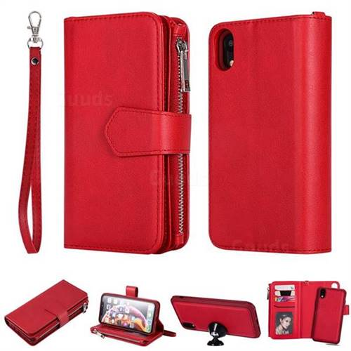 brand new e8deb aa884 Retro Luxury Multifunction Zipper Leather Phone Wallet for iPhone Xr (6.1  inch) - Red - Leather Case - Guuds