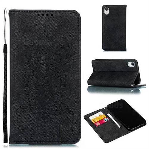Retro Intricate Embossing Elk Seal Leather Wallet Case for iPhone Xr (6.1 inch) - Black