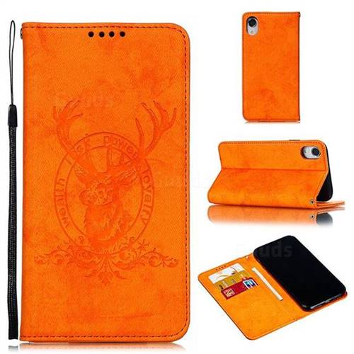 Retro Intricate Embossing Elk Seal Leather Wallet Case for iPhone Xr (6.1 inch) - Orange