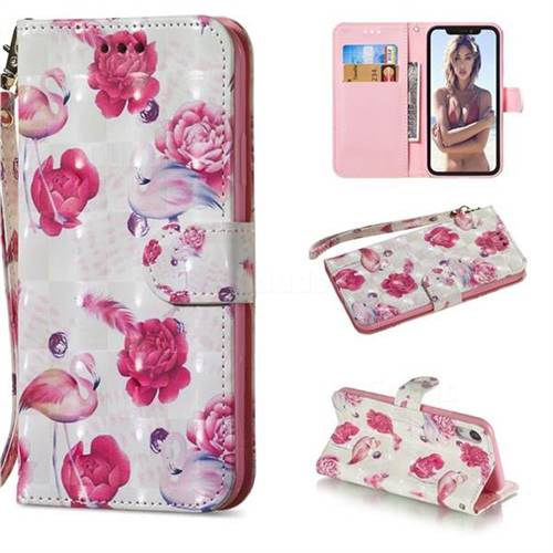 Flamingo 3D Painted Leather Wallet Phone Case for iPhone Xr (6.1 inch)