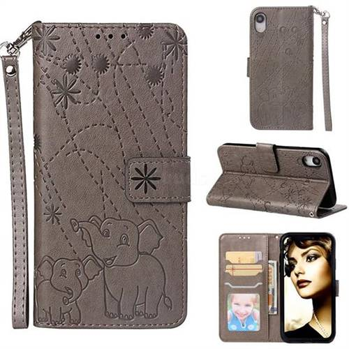 Embossing Fireworks Elephant Leather Wallet Case for iPhone Xr (6.1 inch) - Gray