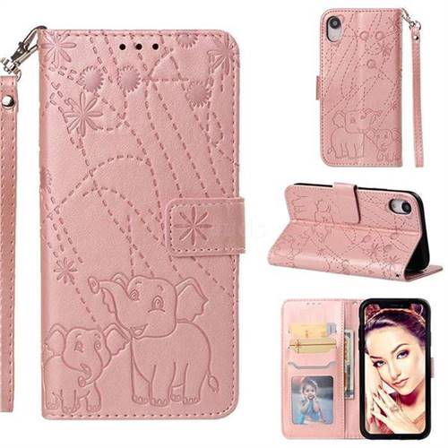 Embossing Fireworks Elephant Leather Wallet Case for iPhone Xr (6.1 inch) - Rose Gold