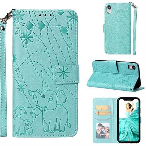 Embossing Fireworks Elephant Leather Wallet Case for iPhone Xr (6.1 inch) - Green