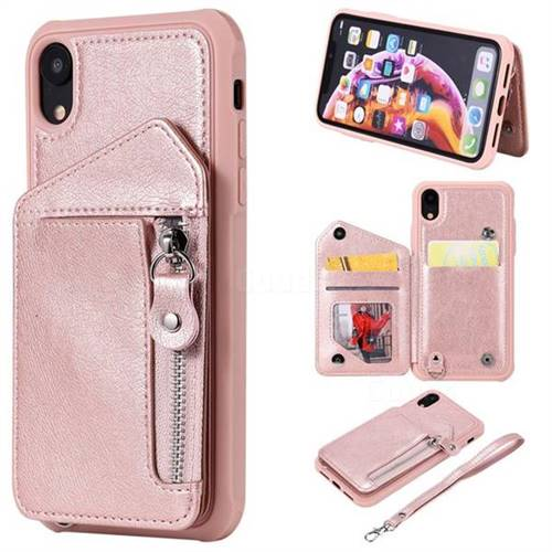 Classic Luxury Buckle Zipper Anti-fall Leather Phone Back Cover for iPhone Xr (6.1 inch) - Pink