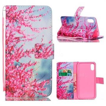 Plum Flower Leather Wallet Phone Case for iPhone Xr (6.1 inch)