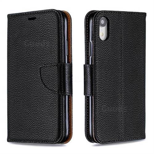 Classic Luxury Litchi Leather Phone Wallet Case for iPhone Xr (6.1 inch) - Black